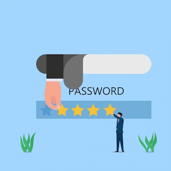 Man fill password on web and hacker stole metaphor of hack and social engineering. business flat concept illustration.