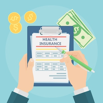 Man fills in the form of health insurance. healthcare concept. claim form and money