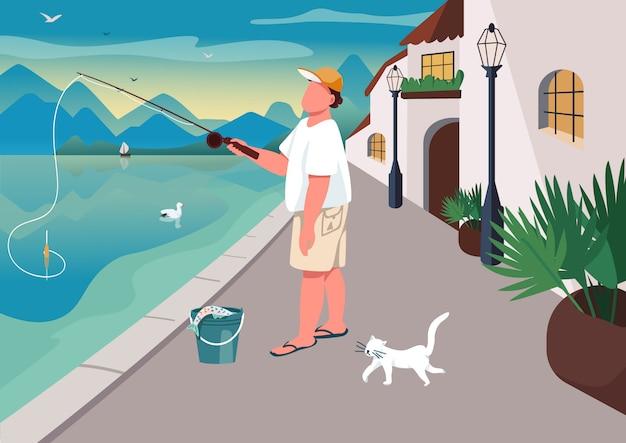 Человек рыбачит на набережной плоской цветной иллюстрации
