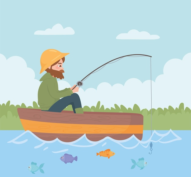 Man fishing on the boat in the river