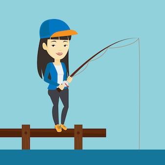 Man fishing on jetty vector illustration.