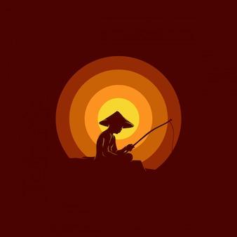 Man fishing  logo