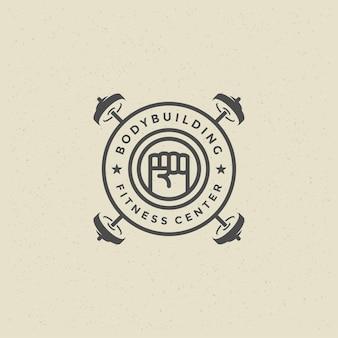 Man fist logo or badge vector illustration heavy barbells symbol silhouette
