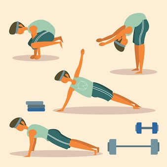 Man fitness workout pose vector flat