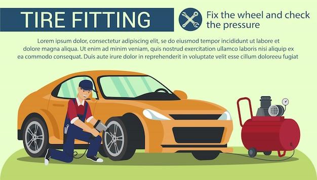 Man fix wheel and check pressure