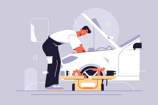 남자 스스로 그림으로 자동차를 고정. 도구 플랫 스타일로 자동차 수리.
