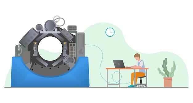Человек, фиксирующий концепцию компьютерной томографии