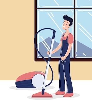 Man fixing vacuum