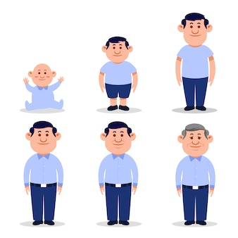 Man flat character in different ages