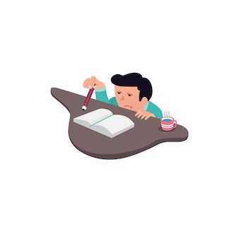 Man flat design with cartoon with bored expression