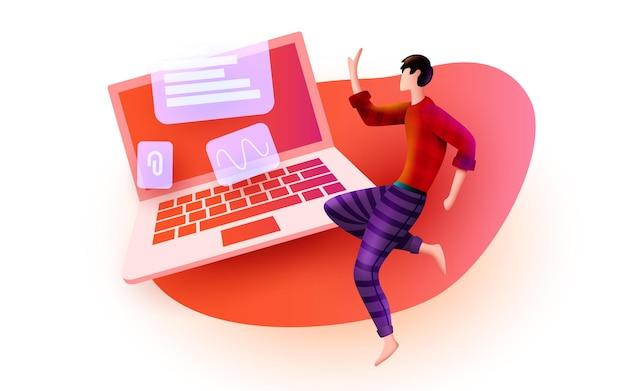 Человек летает вокруг большого портативного компьютера службы удаленной работы, программирования и концепции развития