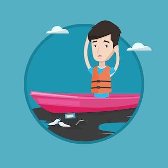 Человек плавает в лодке в загрязненной воде.