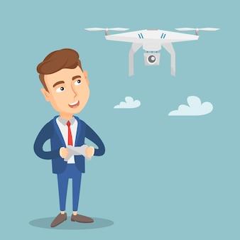 Man flying drone vector illustration.