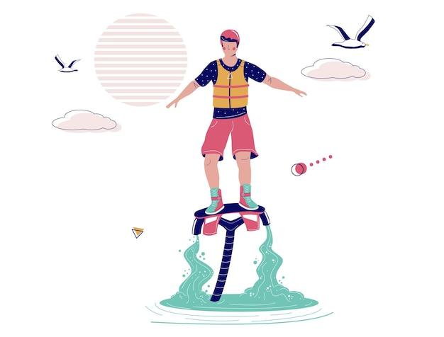 Flyboard, 벡터 일러스트 레이 션에 비행 하는 남자. 플라이보드, 익스트림 수상 스포츠, 해변 활동. 플라이보드 워터 제트팩