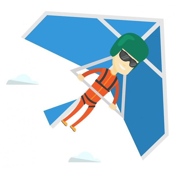 ハンググライダーのイラストを飛んでいる男。