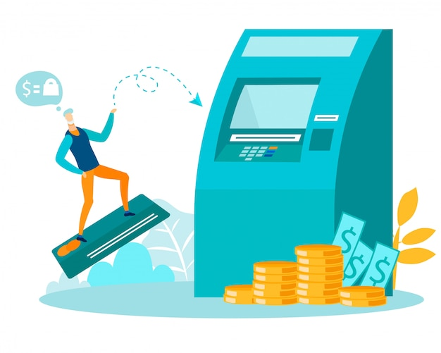 Man flying on plastic card to atm machine metaphor