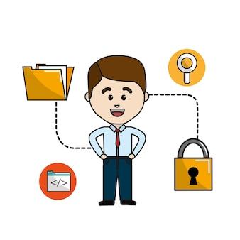 南京錠のセキュリティデータを持つmanフォルダファイル Premiumベクター