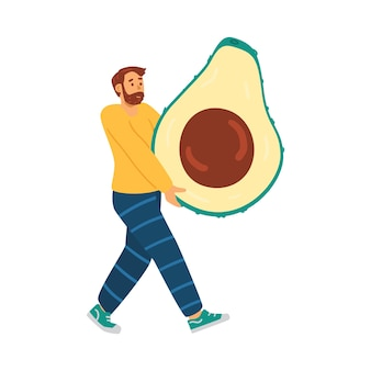 케토 다이어트를 하는 남자는 건강 식품 아보카도 벡터 삽화를 가지고 있습니다.