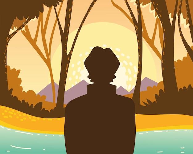 남자 숲 자연 강 보기