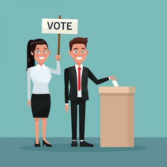 Man in formal suit vote in urn for candidate and woman ponytail hairstyle with poster