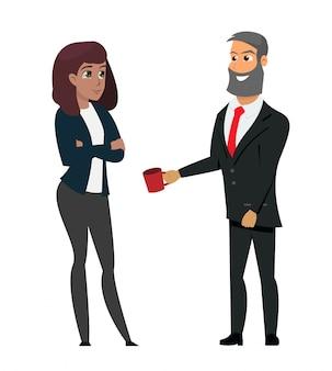 Man in formal wear offering coffee businesswoman