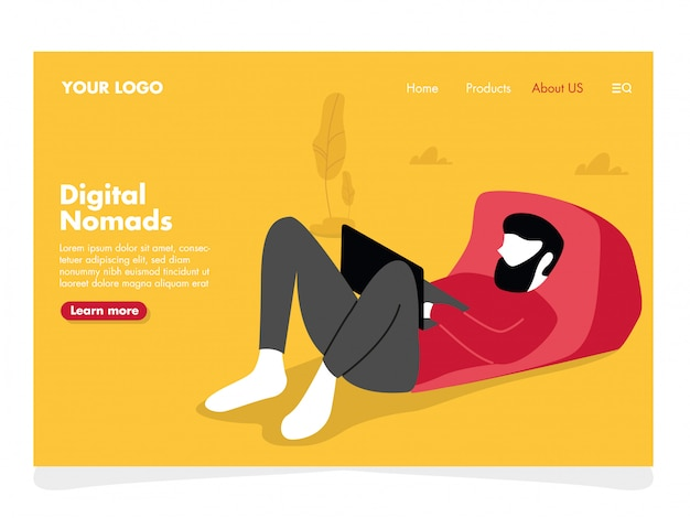Man freelance illustration for landing page