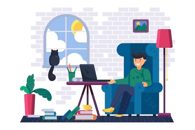自宅のベクトルでラップトップに取り組んでいる男のフリーランサー。職場で肘掛け椅子に座って、ポータブルコンピューターでリモート作業をしている青年実業家。キャラクタービジネス職業フラット漫画イラスト