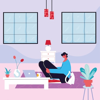 Man freelancer working remotely from her home