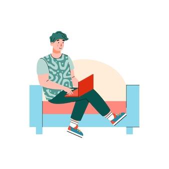Man freelancer working remotely at home cartoon illustration