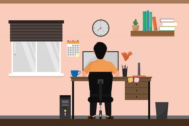 Человек фрилансеров, работающих на компьютерах на дому.