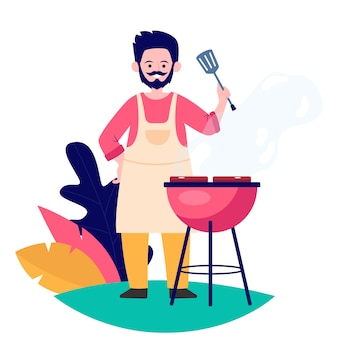 Man fried meat on nature flat vector illustration