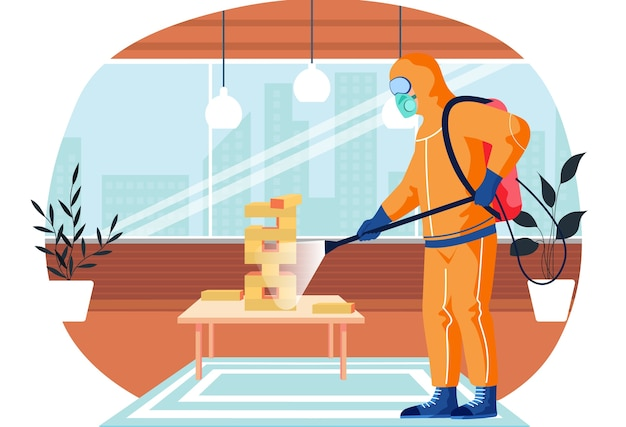 A man from epidemiological service doing disinfection in office or livingroom with board game to kill viruses and bacteria. male character in a protective suit sprays a room with disinfectant solute