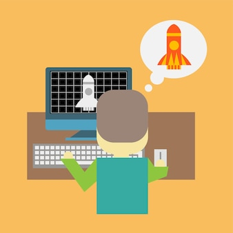 Man in front of pc with a rocket taking off. startup or modeling concept - cartoon flat illustration