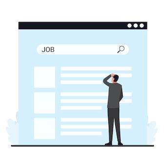 就職活動の検索タブの比喩の前でイライラする男。