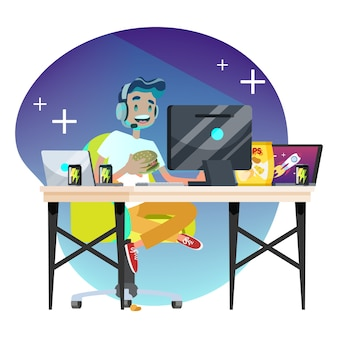 Концепция геймера человек. человек играет на компьютере