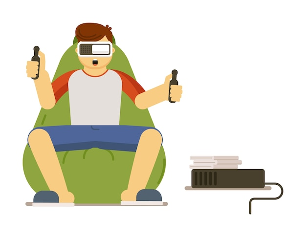 Man gamer playing virtual reality simulation video game in vr goggles stay home illustration isolated on white background