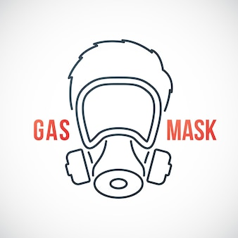 Man in gas mask line icon isolated on white background