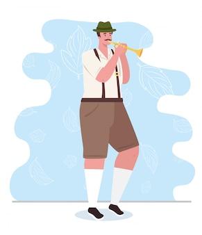 Немецкий мужчина в национальном платье с трубой, мужчина в традиционном баварском костюме, векторная иллюстрация дизайн