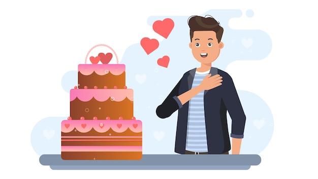Человек получить торт на валентина иллюстрации