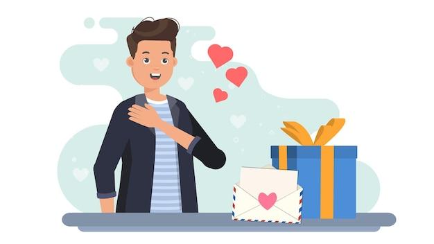 Человек получить любовное письмо на иллюстрации валентина