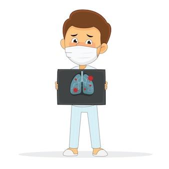 Man gets coronavirus. covid‑19. man holds x-ray of lungs