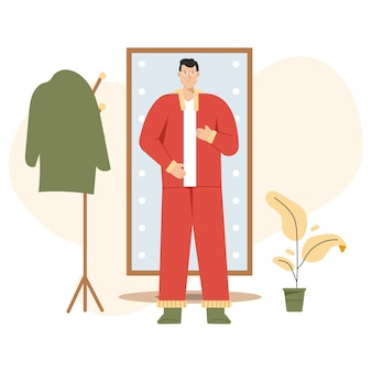 Man gets dressed in front of full length mirror, going to work or returning home.