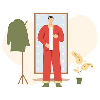 Мужчина одевается перед зеркалом в полный рост, идя на работу или возвращаясь домой.