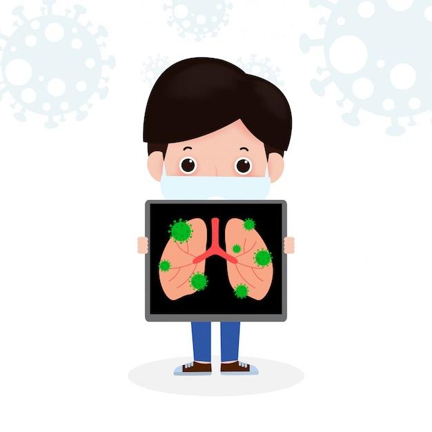 Человек получает с коронавирусом или covid 19 человек проводит рентген легких. карантин мужчин предотвратить распространение инфекции, изолированных на белом фоне иллюстрации
