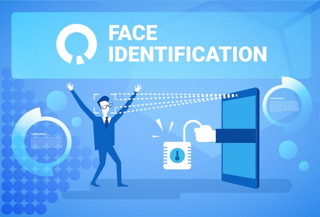 Man getting access after face identification scanning modern biometric technology recognition system concept