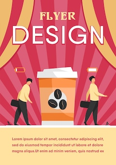 Man getting energy from cup of coffee. caffeine addicted guy with disposal cup. flyer template