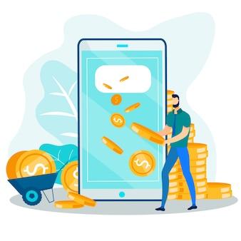 Man getting money via mobile phone flat cartoon