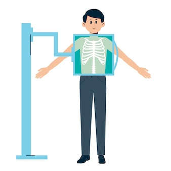 Man getting x-ray checkup. chest medical treatment. radiography exam.