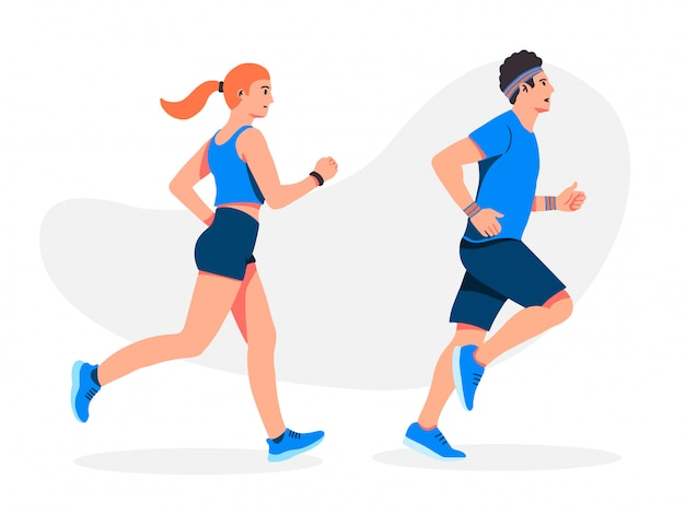 Man and girl running  illustration