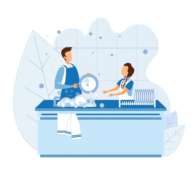 Man and girl wash dishes after cooking or eating